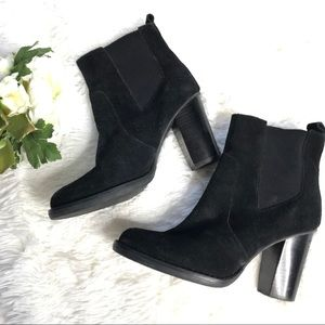14th & Union Black Leather High Chunky Heel Boot